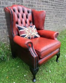 Stunning Vintage Chesterfield Queen Anne Wing Back in Oxblood Red Leather - UK Delivery