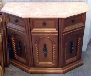 Mid Century Traditional Style Marble Top Sideboard/Cabinet