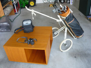 Teak Coffee Table, Golf Clubs Cart and Bag,