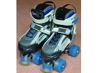 SFR Typhoon Adjustable Boys Quad Roller Skates UK Size 12-2 (EUR 30.5-34) - Black/Blue