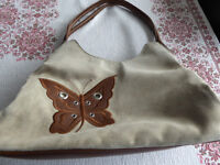 Leather and suede handbag with Butterfly Motif