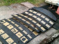 Speed ramp,12 foot wide, 6 middle parts plus two crescent ends, plus joiners,rubber