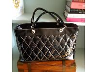 Handbag, Quilted Quality Patent Leather, Practical Office Bag with chanel style - Made in Italy