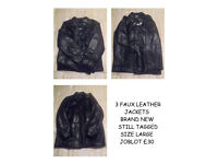 3 LEATHER JACKETS BRAND NEW