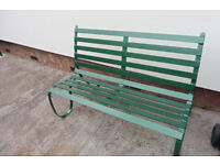 Steel garden bench seat.