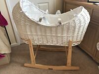 Mothercare Apples and Pears Moses basket and Clair de Lune rocking stand for sale