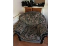 Very comfy arm chair and black leather office chair