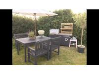 Garden table, Bench and 2 chairs