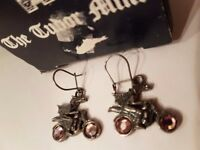 BNIB Tudor Mint / Myth & Magic Dragon on Motorcycle Earings
