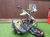 Cosatto 3 in 1 travel system with car seat base