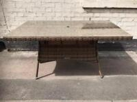 Large Brown Rattan Garden Table With Glass Top