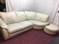 Cream leather right handed corner sofa comfortable