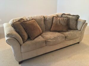 Suede love seat and couch