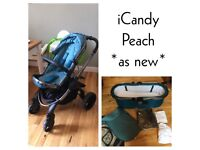 *as new* iCandy Peach stroller & carrycot in peacock blue without box including extras