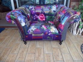 Anna Scroll Patchwork Chesterfield Chair Sofa