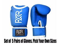 (Brand New) FXR SPORTS 5 PAIRS OF BOXING SPARRING GLOVES 10 12 14 16oz Bulk Sale RRP £84.95