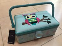 Brand new owl sewing box with pin cushion