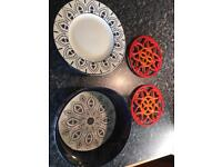 Dinner plates and serving bowl