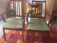 2 Dining chairs, carvers, green padded seat