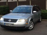 2003 VW PASSAT 1.9 TDI SPORT ESTATE 6 SPEED MANUAL WIDE SCREEN SAT-NAV-DVD DVD HEADREST