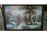 Oil painting snowy Lake