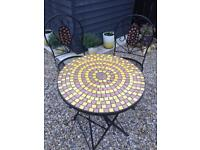 Mosaic Metal Table And 2 Chairs