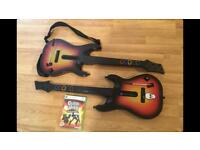 X2 XBOX 360 GUITAR HERO GUITARS with WORLD TOUR GAME £20 no offers