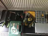 Lot of Garden/Power Tools (Jigsaw, drill) with folding table