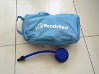"""LIKE NEW """"My First Ready Bed"""" air bed and sleeping bag in unisex design with pump"""