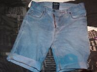 Men's blue Pull & Bear denim shorts, size small