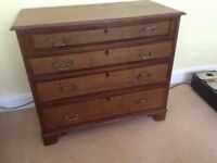 circa 1800 antique chest of drawers in good condition but ink stain on top needs removing