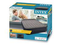 Intex Unisex Queen Deluxe Raised Inflatable Air Bed, Grey, electronic pump