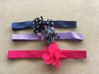 3 LOVELY BABY GIRL HEADBANDS