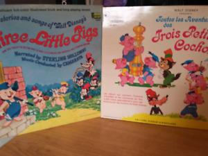 Vinyl les 3 petits cochons en anglais et français de disney