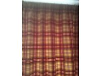 "John Lewis lined, pencil pleat, tartan curtain, 90"" long by 66"" wide."