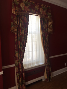 Pinch pleated floral drapes and valances