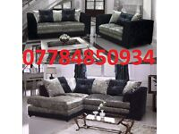 CRUSHED VELVET 3+2 OR CORNER SOFA BLACK/SILVER