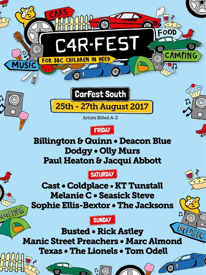 2 x Carfest South tickets Weekend Quiet Camping 16 and under
