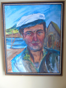 Rustico Wharf,OIL PAINTING,COURT BROTHER, BY MARGARET FRIZZELL
