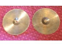 "1980s Zildjian 14"" new beat hi hat cymbals"