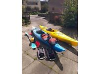 Barely Used x2 Necky Manitou 13 Kayaks, plus paddles, buoyancy aids, roof rack and spray decks