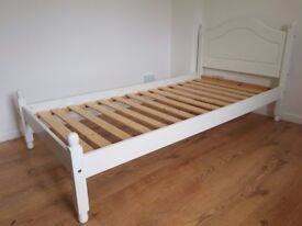 White 3ft Single Bed Frame with Curved Headboard