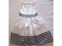 Girls Party Dress Cinderella Princess Collection 10 Years White & Navy - NEW Unused