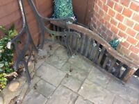 CAST IRON BENCH ENDS AND BACK SEATING BIT