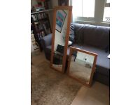 Two pine wood mirrors - full length and generously sized hanging mirror