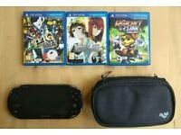 PS Vita + Case + 3 Games