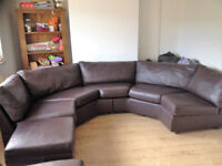 Brown Leather custom - made corner couch sofa