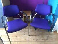 PAIR OF MATCHING HEAVYWEIGHT UPHOLSTERED STACKING CHAIRS - FREE LOCAL DELIVERY