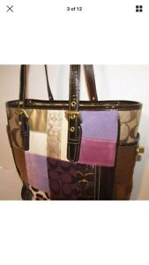 Coach Limited Edition Patchwork Multi Tote Leather Suede Comb