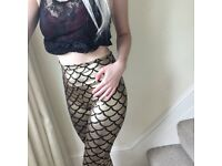 Gold Shiny Mermaid Leggings! Size 10